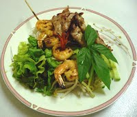Grilled Shrimp & Honey Lemongrass Pork